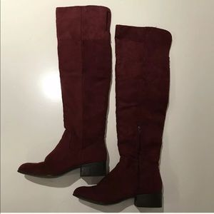 Burgundy Suede Over the Knee Boots